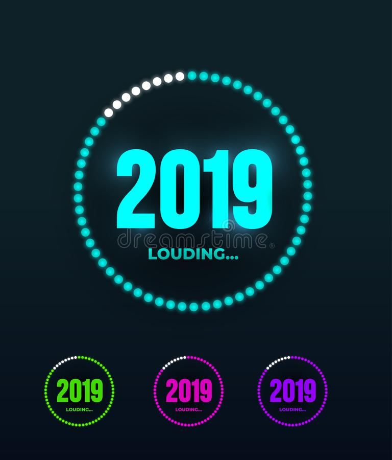 Doodle with 2019 loading. New year download screen. Progress bar almost reaching new years eve. Vector illustration. Isolated on. Dark background vector illustration