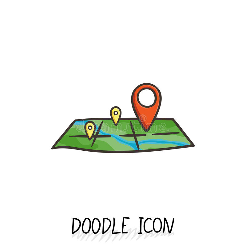 Doodle lokaci ikona Mapa piktogram ilustracja wektor