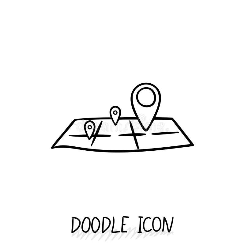 Doodle lokaci ikona Mapa piktogram royalty ilustracja