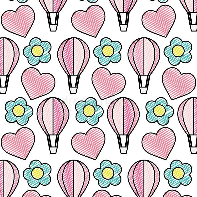 Doodle lotniczy balon z egzotycznym kwiatu tłem ilustracji