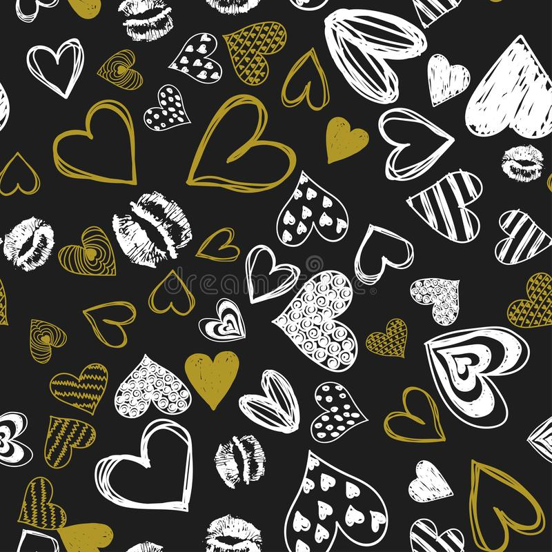Doodle love heart Valentines Day seamless stock photos