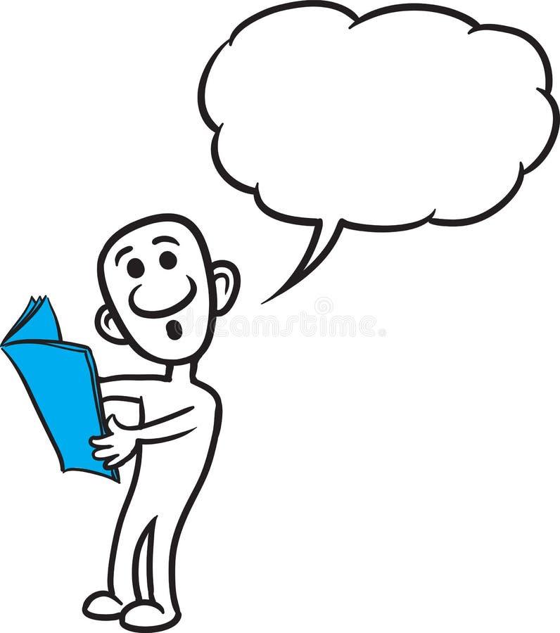 Doodle mała osoba - czytać gazetę ilustracja wektor
