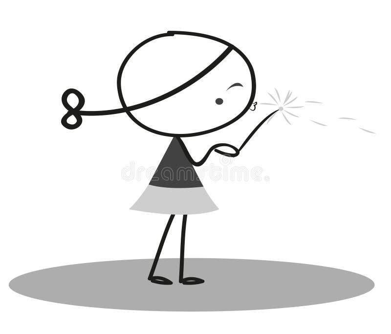 Doodle małej dziewczynki podmuchowy dandelion ilustracja wektor