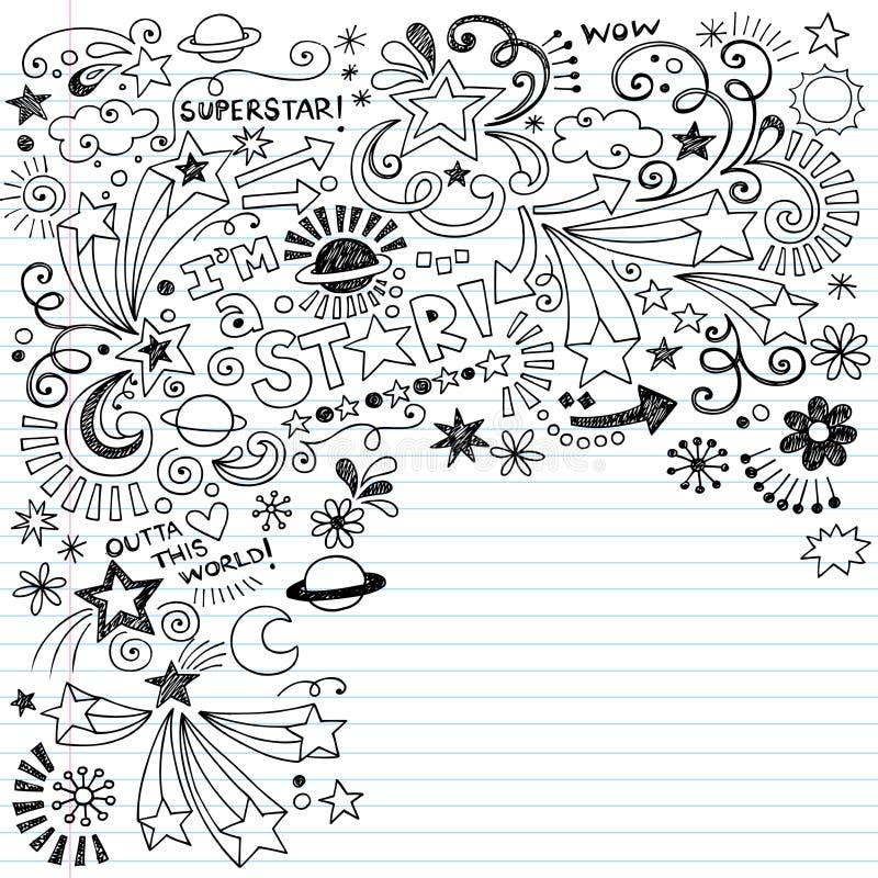 Doodle manchado de tinta del vector de la superestrella de los Doodles del garabato libre illustration