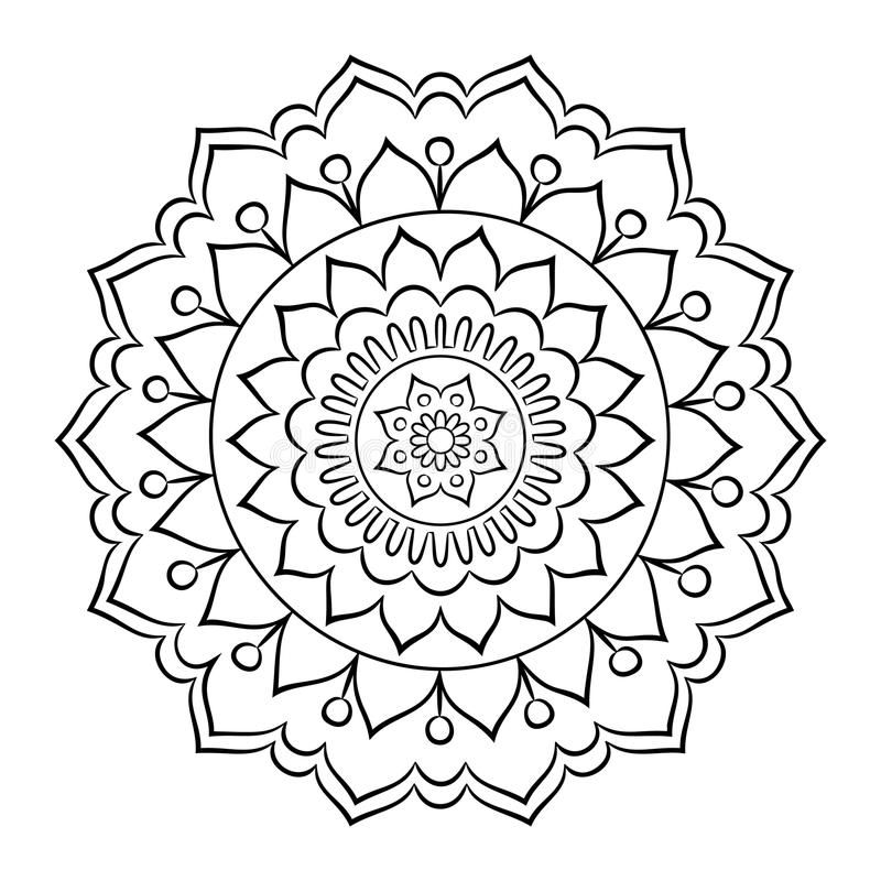Doodle Mandala Coloring Page Stock Vector Illustration of card