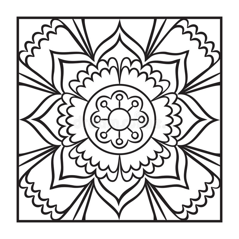 Download Doodle Mandala Coloring Page Stock Vector