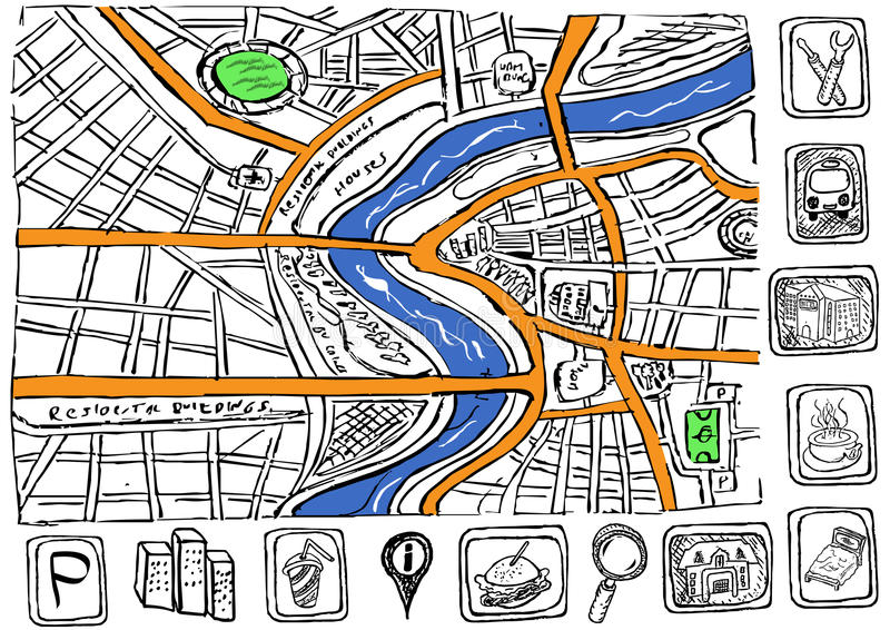 Download Doodle map stock vector. Image of buildings, layout, ground - 28092272