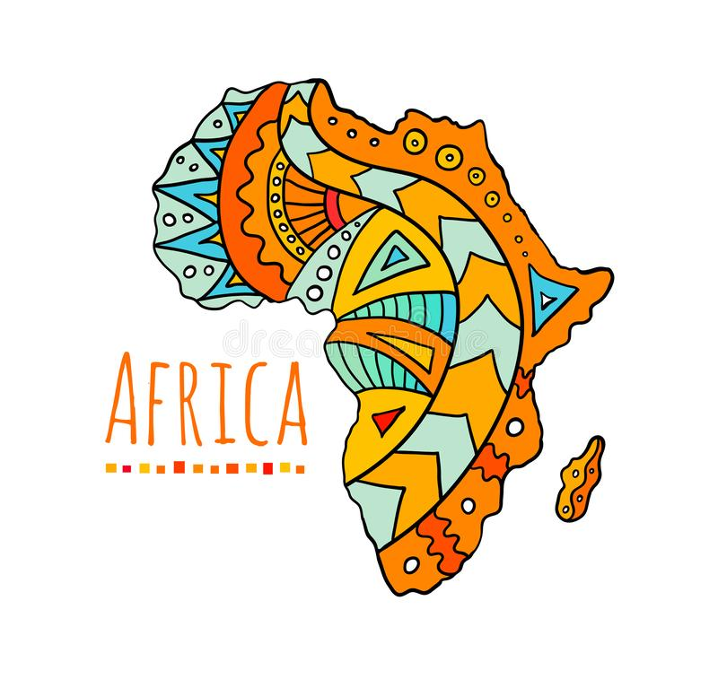 Doodle map of Africa. Vector illustration hand-drawn. vector illustration