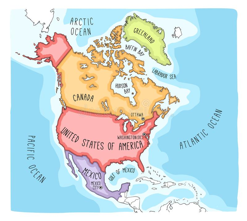 Doodle Map Of North America Stock Vector Illustration of earth