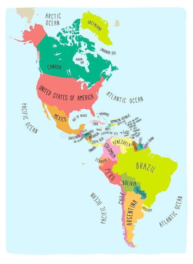 Doodle mapa Amerykański kontynent ilustracji