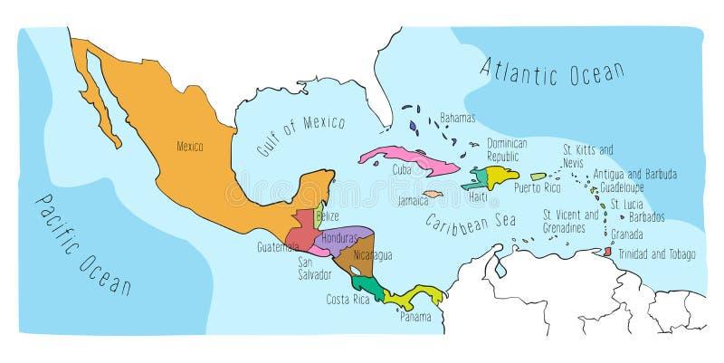 Doodle mapa Ameryka Środkowa i Meksyk ilustracji