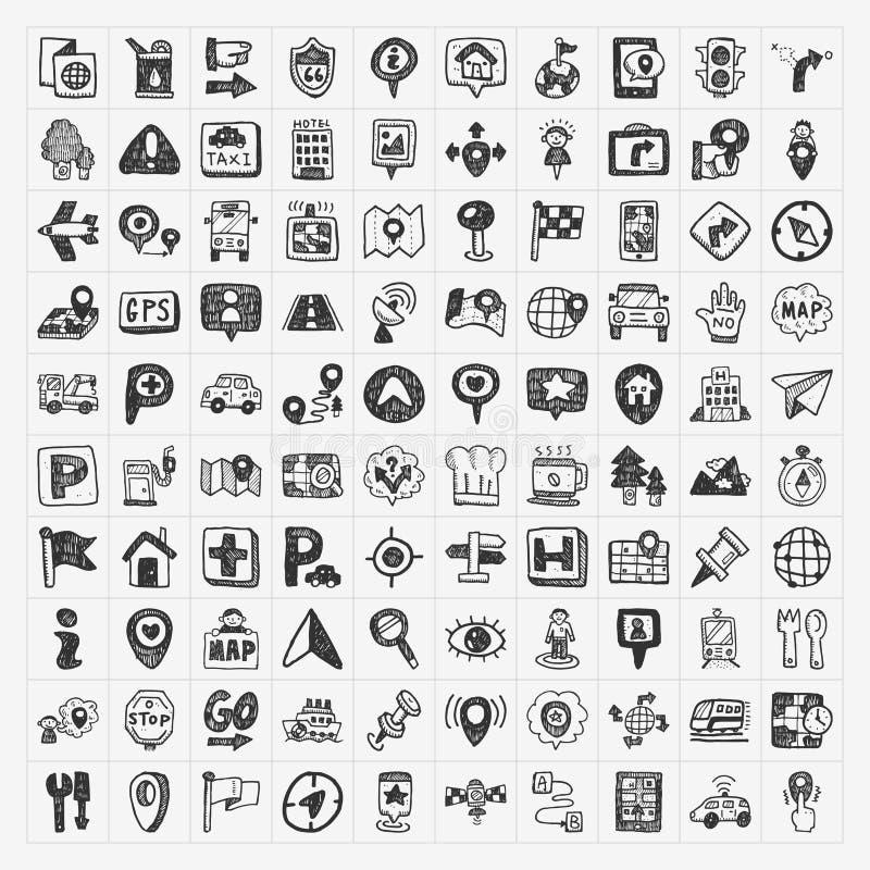 Doodle mapy GPS lokaci ikony ustawiać royalty ilustracja