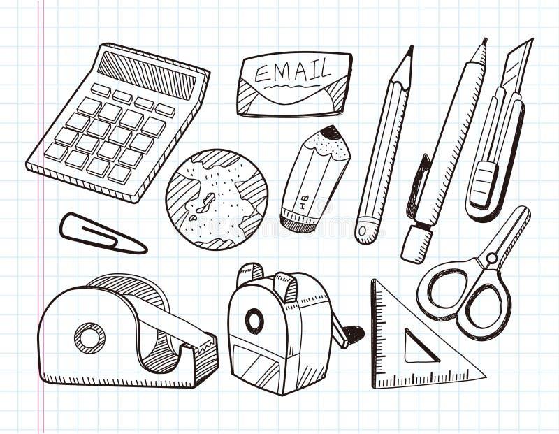 Doodle materiały ikony royalty ilustracja