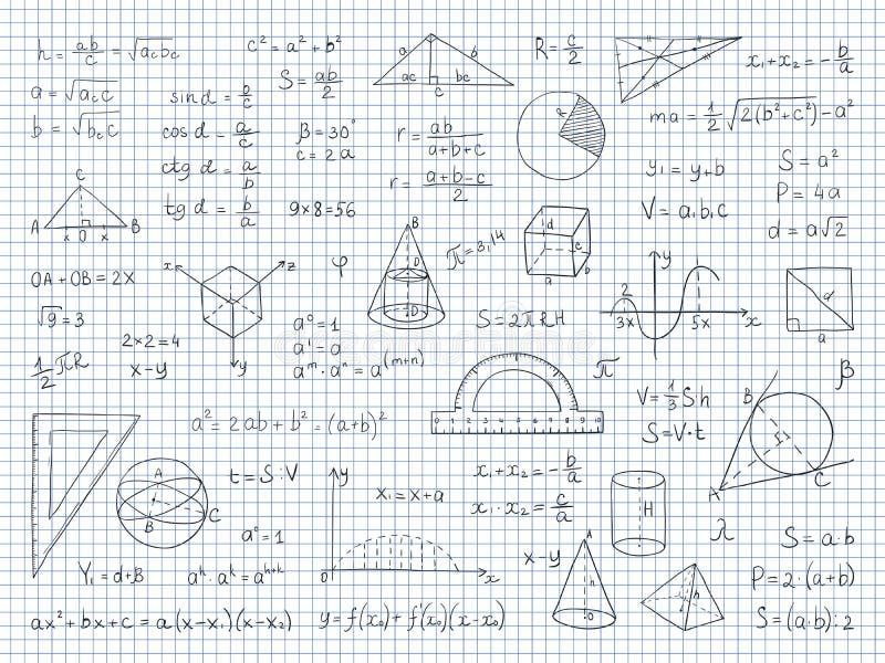 Doodle math Εξισώσεις τελών τύπων φυσικής και γεωμετρίας, γραφικές παραστάσεις σχολικής επιστήμης και trigonometry Χέρι που σύρετ ελεύθερη απεικόνιση δικαιώματος