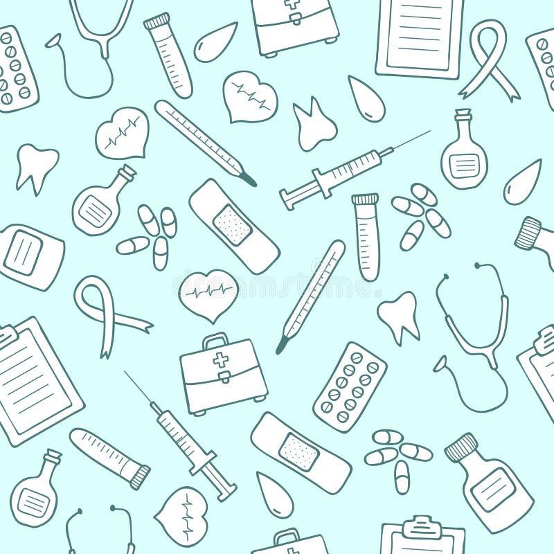Doodle medyczny bezszwowy wzór Set medycyn ikony ilustracja wektor