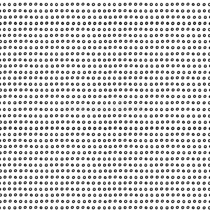 Doodle minimalist seamless pattern in black and white. Hand-drawn dotted pattern stock illustration