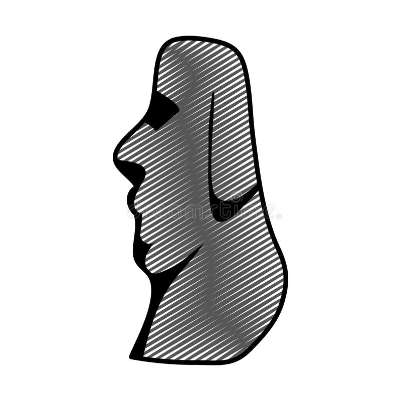 Doodle moai classic sculpture from easter island. Vector illustration vector illustration