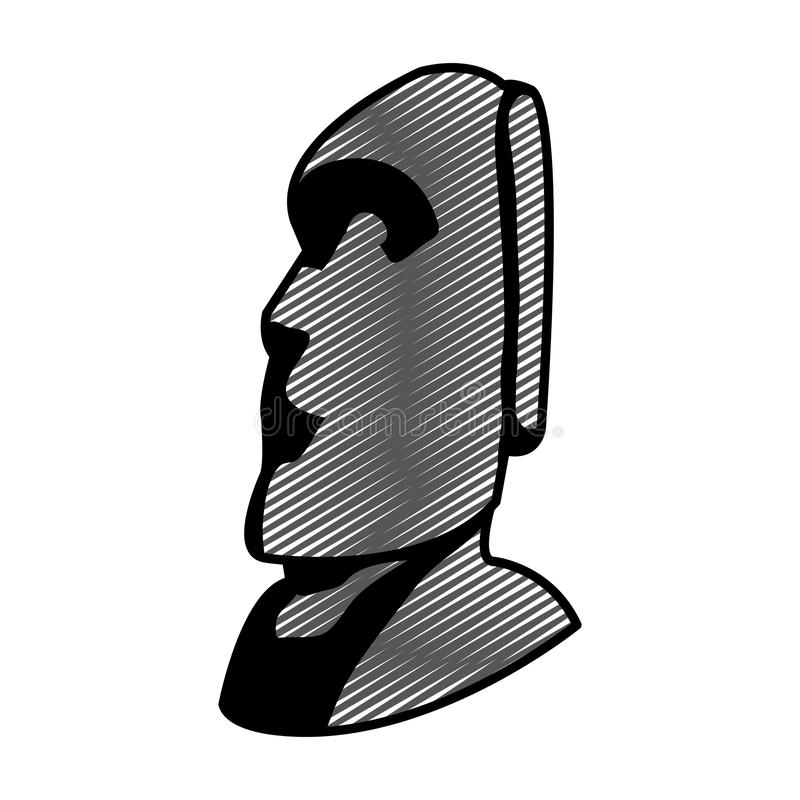 Doodle moai sculpture from easter island culture. Vector illustration vector illustration
