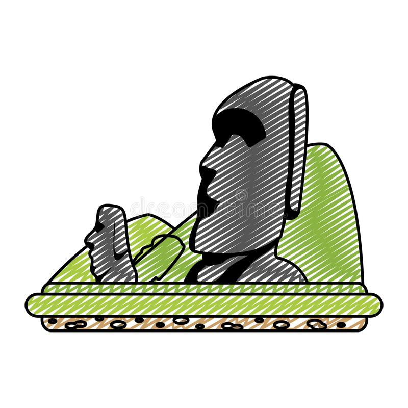 Doodle moai sculture from easter island and mountains. Vector illustration vector illustration