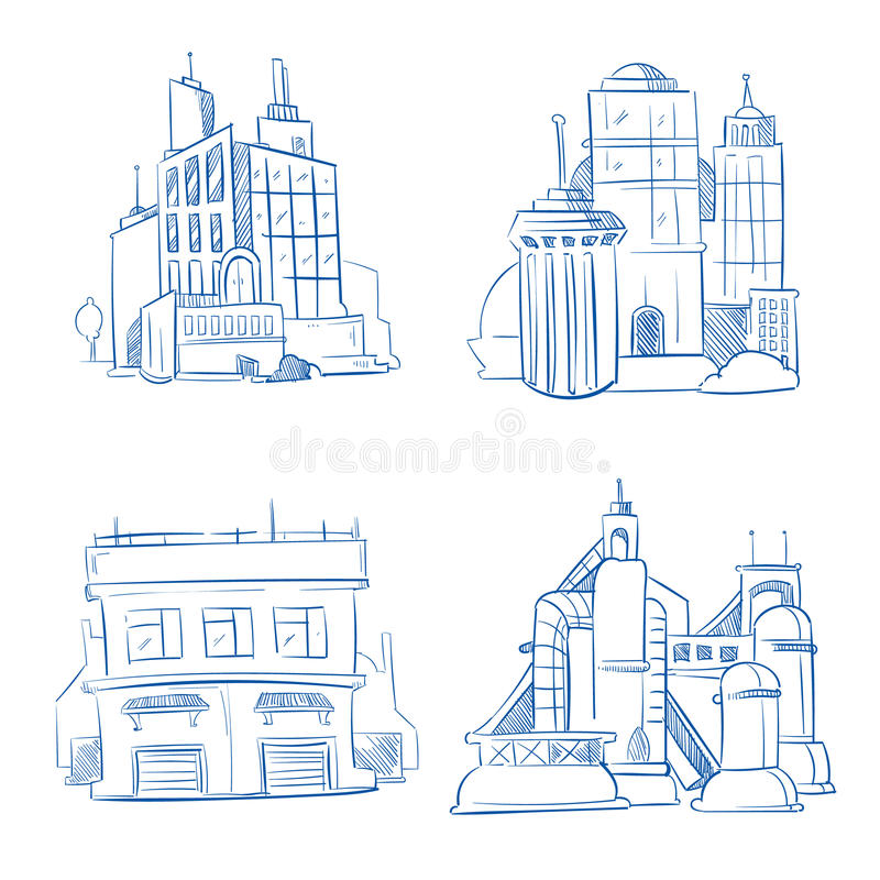 Doodle modern business office, industry factory buildings, warehouse sketch hand drawing vector set vector illustration