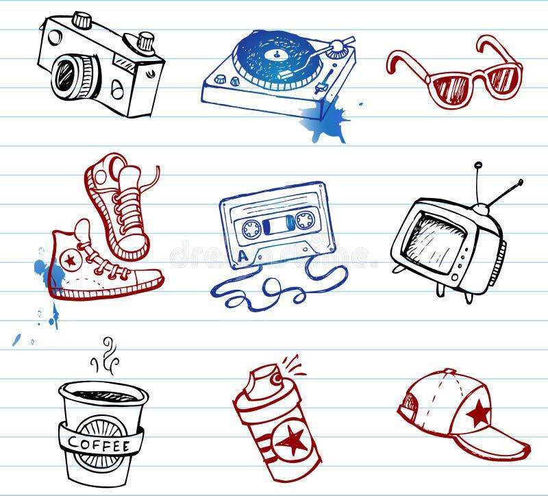 doodle modnisie ustawiający materiał ilustracji