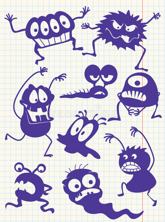 Doodle monsters-. Silhouettes of doodle monsters-bacteria-aliens royalty free illustration