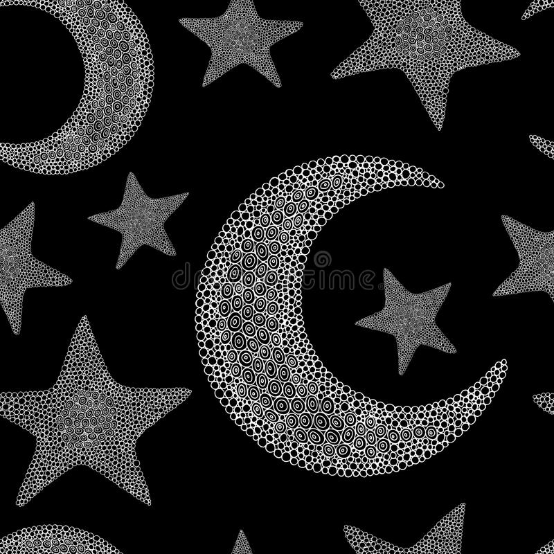 Doodle moon and star seamless pattern. Black and white background. Vector illustration royalty free illustration