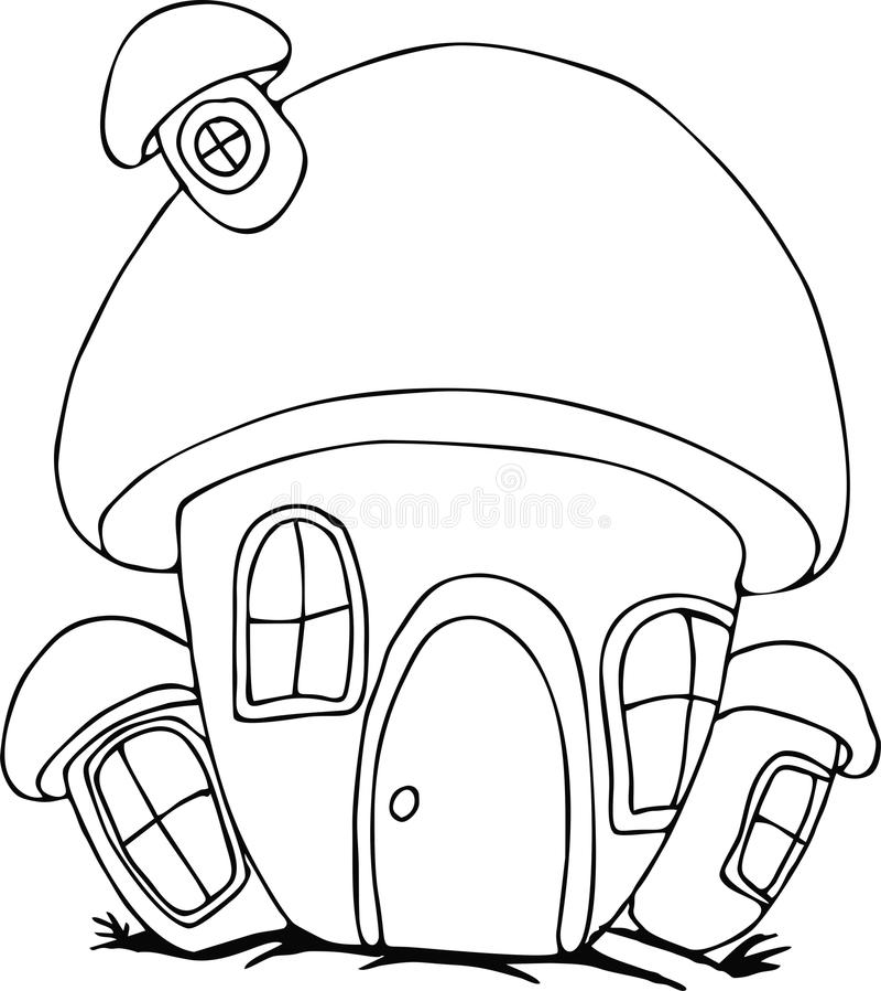 Doodle mushroom House cartoon royalty free illustration