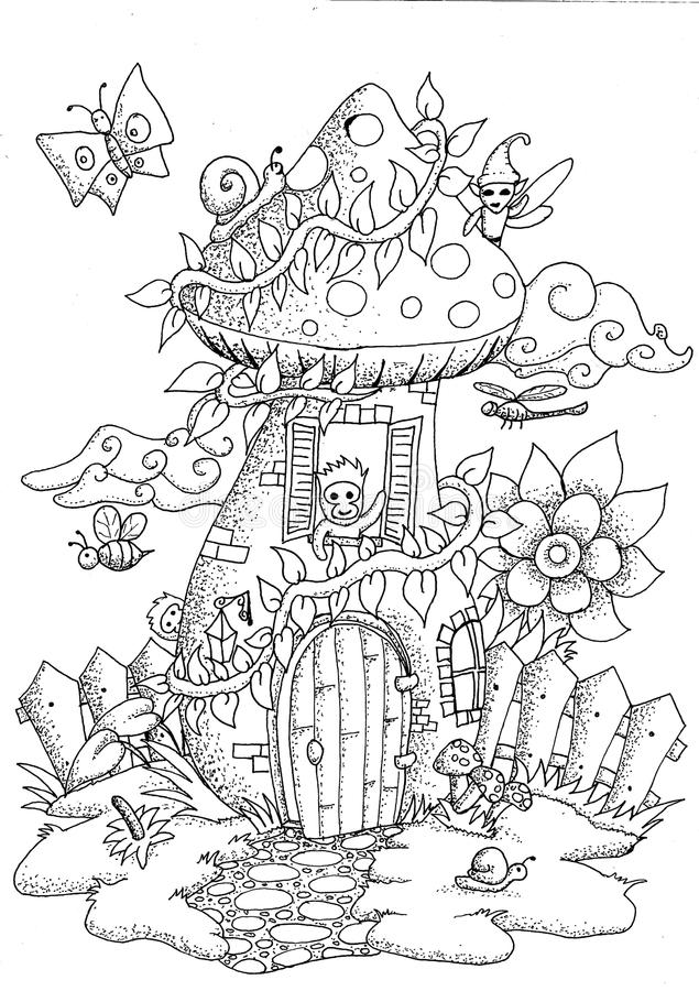 Download Doodle Mushrooms House For Coloring Book Adult Stock Vector