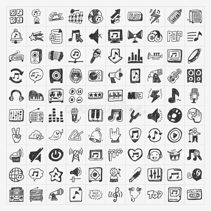 Doodle music icons set vector illustration