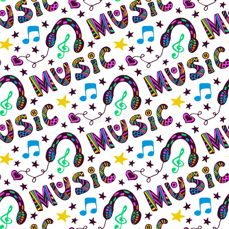 Doodle music seamless pattern with headphones and vector illustration
