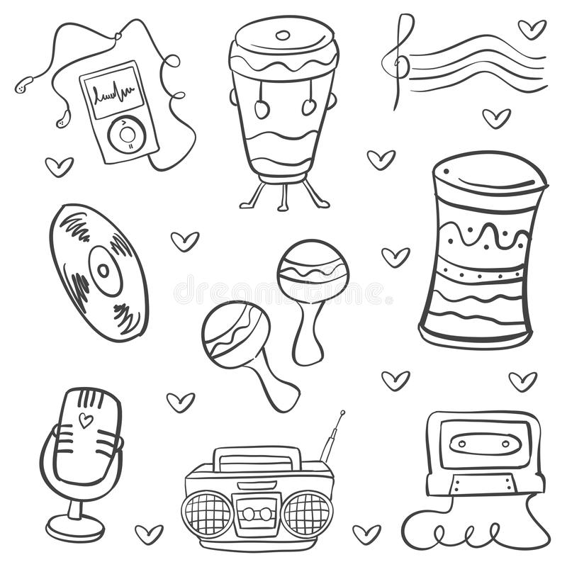 Doodle of musical instrument vector art. Collection stock