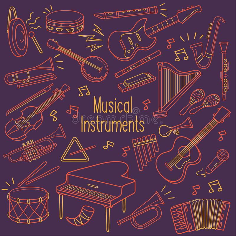 Doodle musical instruments in neon color royalty free illustration