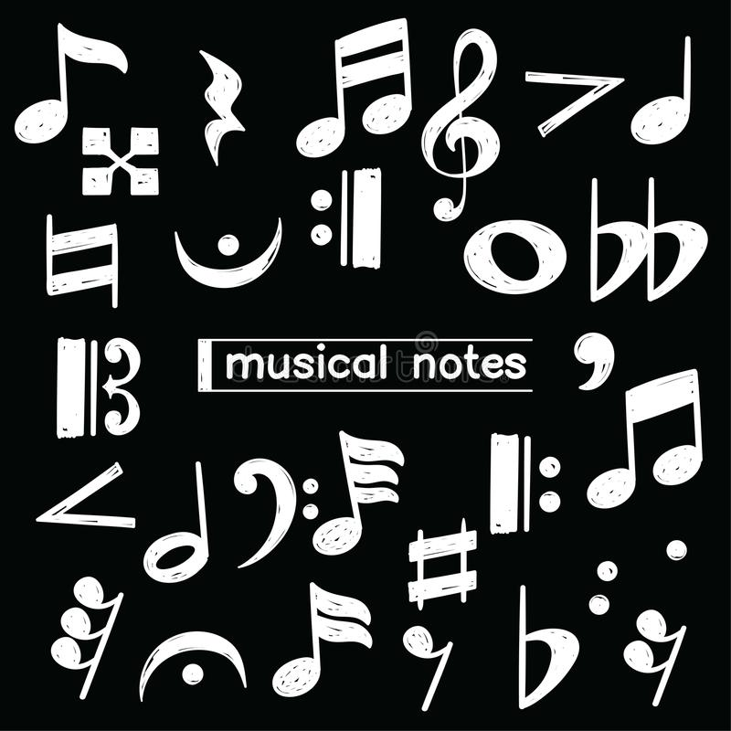 Doodle musical note symbol over chalkboard vector illustration