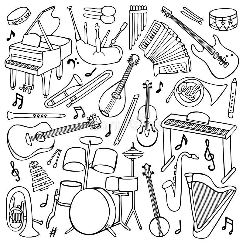 Doodle Muzyczni instrumenty royalty ilustracja