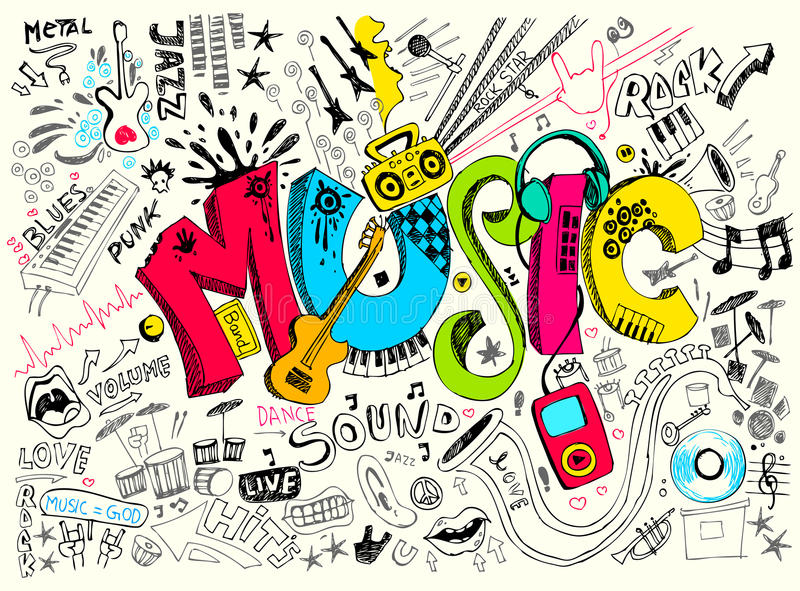 doodle muzyka ilustracja wektor