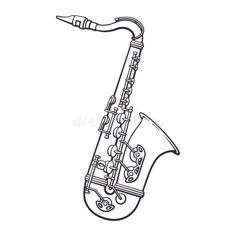 Doodle muzyka klasyczna wiatrowego instrumentu saksofon royalty ilustracja