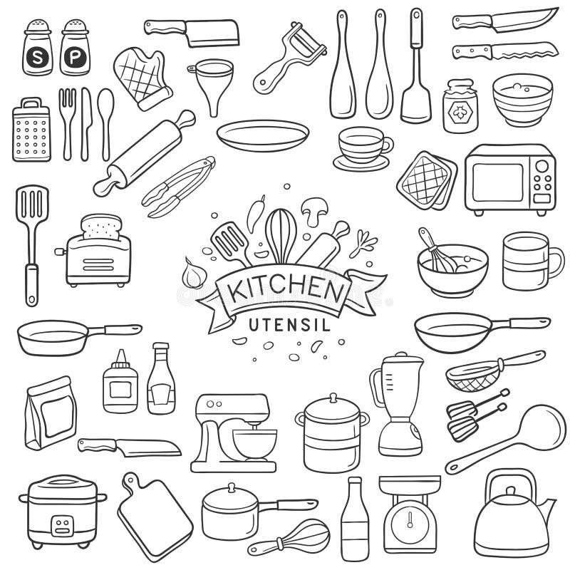Doodle naczynia kuchenny nakreślenie ilustracji
