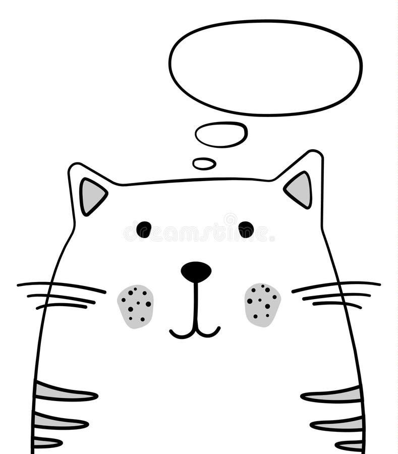 Doodle nakreślenia kot z myśli chmury ilustracją Kreskówka wektorowy kot z główkowanie bąblem pet Zwierze domowy Pocztówka, plaka ilustracji