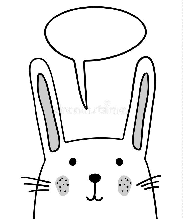 Doodle nakreślenia królik z gadki chmury wektoru ilustracją Kreskówka królik z opowiadać bąbel zając dzikie zwierzę Pocztówka, pl ilustracja wektor