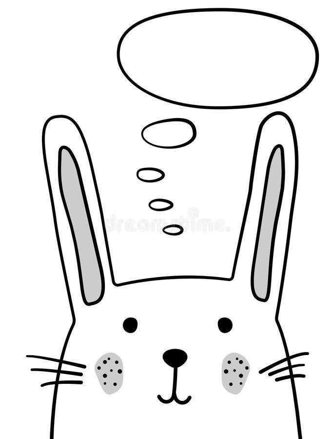 Doodle nakreślenia królik z myśli chmury wektoru ilustracją Kreskówka królik i główkowanie bąbel zając Zwierze domowy pocztówka ilustracja wektor