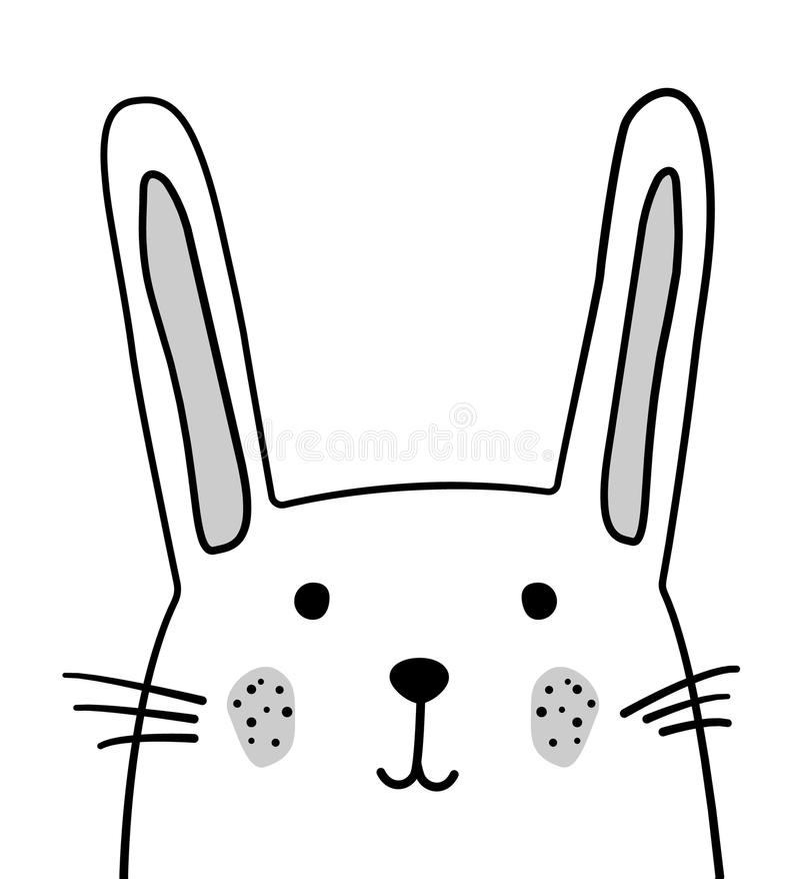 Doodle nakreślenia królika ilustracja Kreskówka wektoru królik dzikie zwierzę Zając, coney Biały tło Pocztówka, plakat, pielucha ilustracja wektor