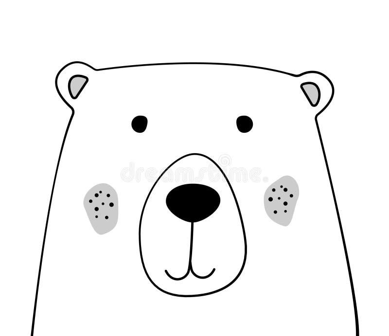 Doodle nakreślenia niedźwiedzia ilustracja Kreskówka miś dzikie zwierzę Pocztówka, plakat, karta, pielucha projekt rysunkowy wręc ilustracji