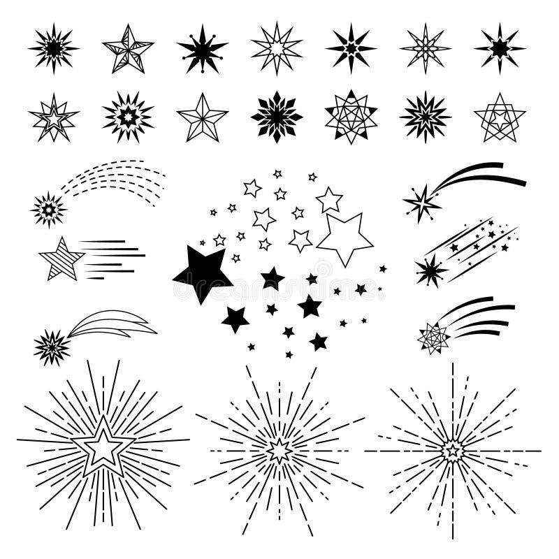 Doodle nakreślenia nocy gwiazdy set ilustracji