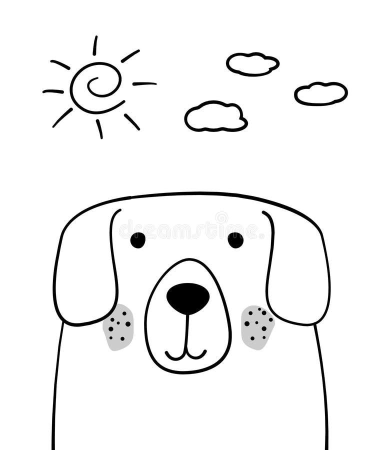 Doodle nakreślenia pies z słońca i chmur wektoru ilustracją Kreskówka pies, zwierzę domowe Doodle styl Zwierze domowy Pocztówka,  ilustracja wektor