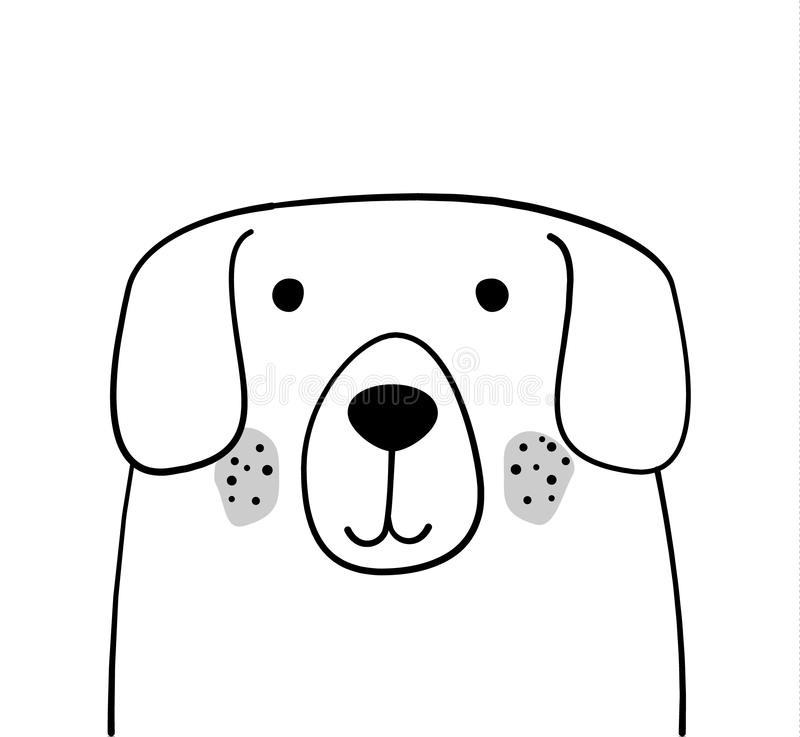 Doodle nakreślenia psa wektoru ilustracja Kreskówki zwierzę domowe, pies Zwierze domowy Pocztówka, plakatowy projekt rysunkowy wr ilustracja wektor