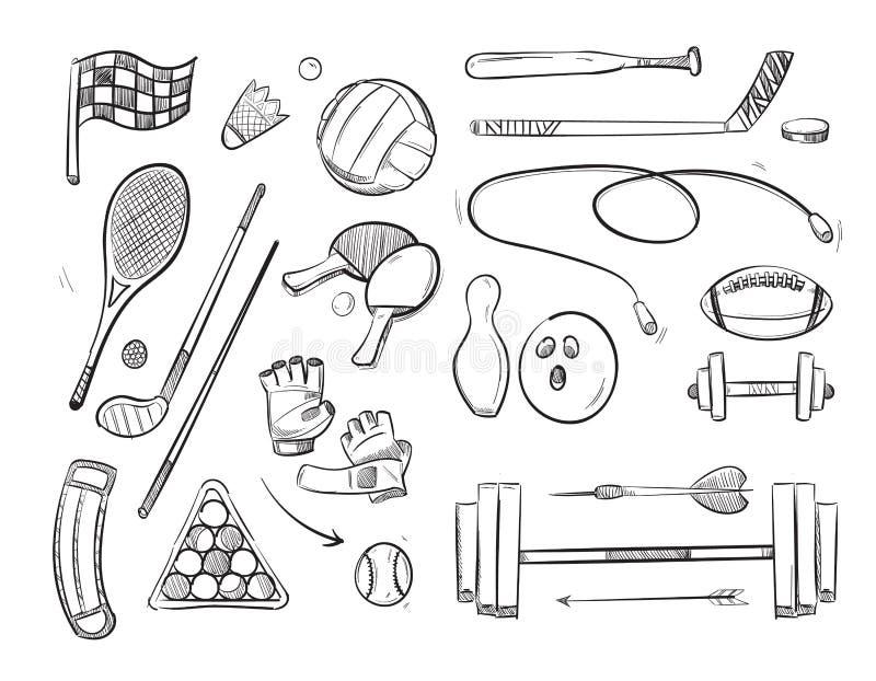 Doodle nakreślenia sporty i sprawność fizyczna wektoru ikony ilustracji