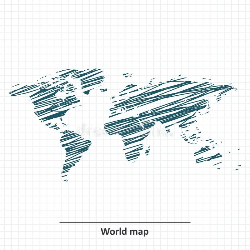 Doodle nakreślenie Światowa mapa ilustracji