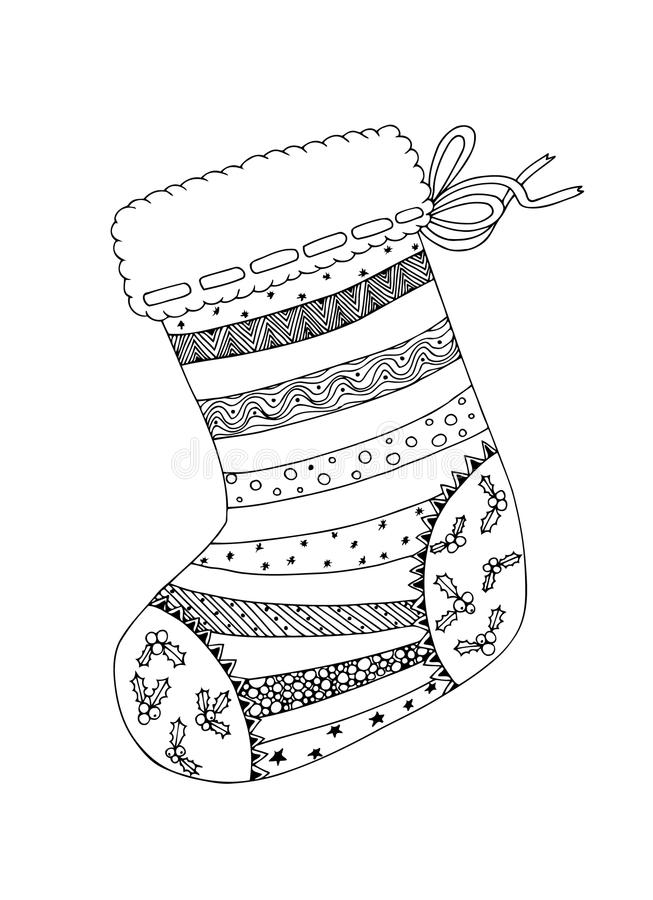 Doodle nakreślenie Bożenarodzeniowa skarpeta w czarny i biały zentangle projekcie obraz stock