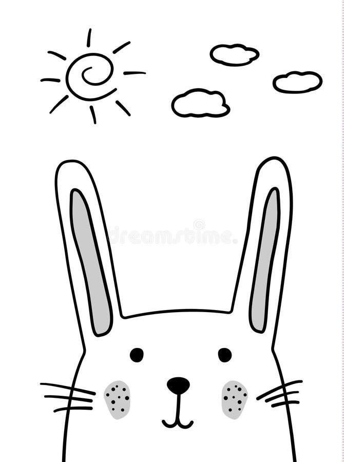 Doodle nakreślenie królika z słońcem i chmurami ilustracyjnymi Kreskówka królika wektor zając Doodle styl Dziki ssaka zwierzę bia royalty ilustracja
